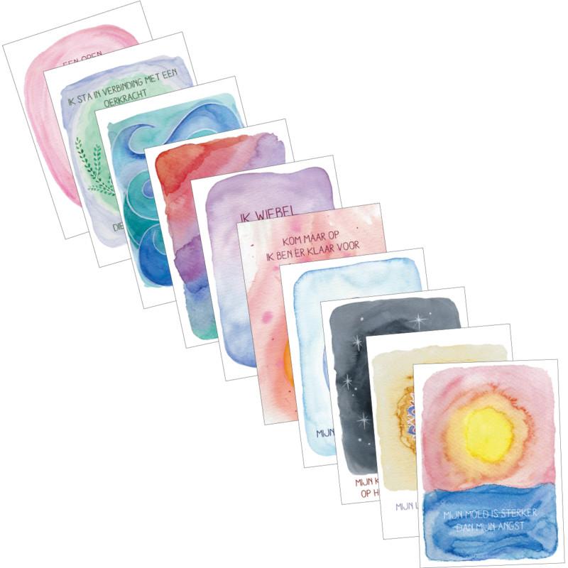 prachtige set 10 kaarten mt affirmaties voor zwangerschap en geboorte