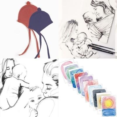 cadeau idee voor zwangere vriendin: affirmatiekaarten, mutsje, tekening zwangere vrouw